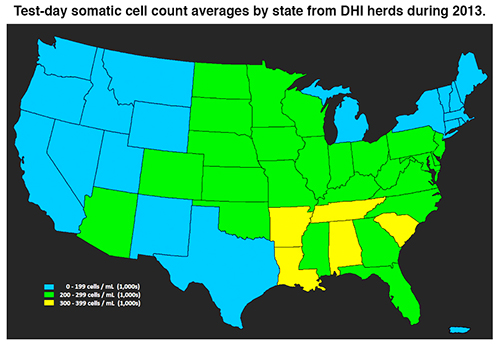 somatic cell count averages by state